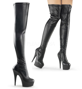 "Pleaser DELIGHT-3000 Exotic Dancing, Clubwear Sexy 6"" Platform Thigh High Boot. Black Stretch Faux/Leather"