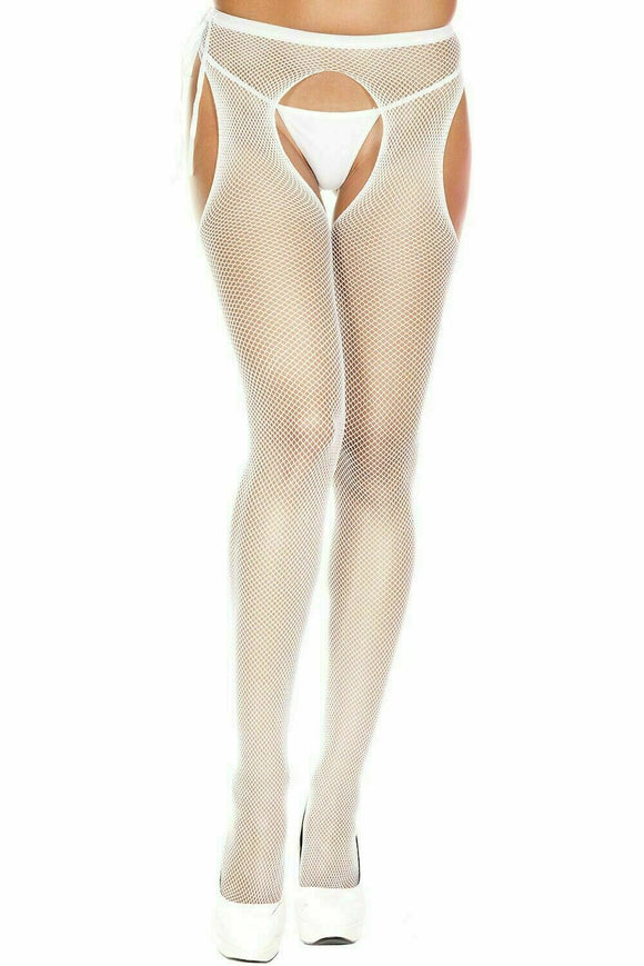Women's Seamless Suspender Fishnet Pantyhose with Tie Bow. Music Legs 904. White