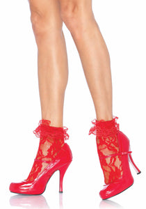 Lady's, Lace Anklet With Ruffle Cuff. School Girl Socks. Leg Avenue 3030.  Red