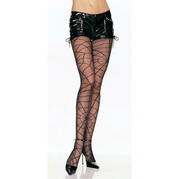 Women's, sheer tights with spider web Pantyhose. Leg Avenue 7502  Black