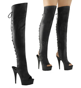 "Pleaser DELIGHT-3019 Exotic Dancing, Clubwear Sexy 6"" Platform Thigh High Boot. Black Faux/Leather"