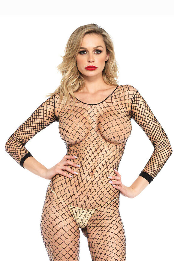 Women's, Industrial Long Sleeve Fishnet Body Stocking. Leg Avenue 8380 Black
