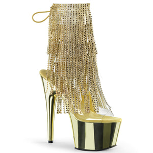 Pleaser Adore-1017RSF Exotic Dancer, Clubwear Ankle Hi Sexy Platform Boot. Gold Chrome