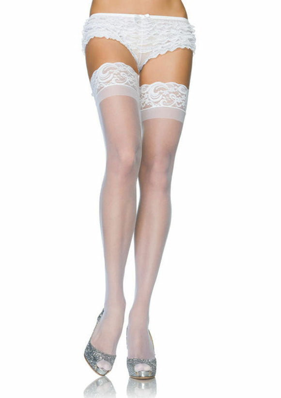 Women's, Lace Top Stay Up Sheer Thigh Highs Stocking. Leg Avenue 1022  White