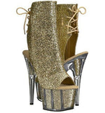 "Pleaser Adore-1018G Exotic Dancing Clubwear Ankle/Mid Calf 7"" Heel Platform Boot. Gold/Glitter"
