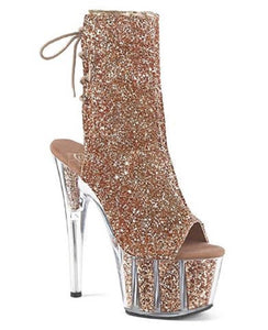 "Pleaser Adore-1018G Exotic Dancing Clubwear Ankle/Mid Calf 7"" Heel Platform Boot. Rose Gold/Glitter"