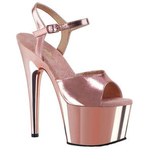 "Pleaser Adore-709 Exotic Dancing, Women's, 7"" Ankle Strap Platform Sandal. Rose Gold Chrome"