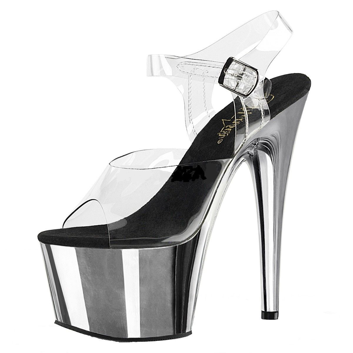 0d4779c3f Clear Silver; Pleaser Adore-708 Women's Exotic Dancing Ankle Strap 7