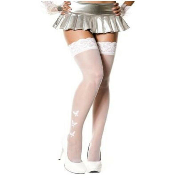 Women's Plus Size Butterfly Lace Top Sheer Thigh High Stockings. Music Legs 4705Q