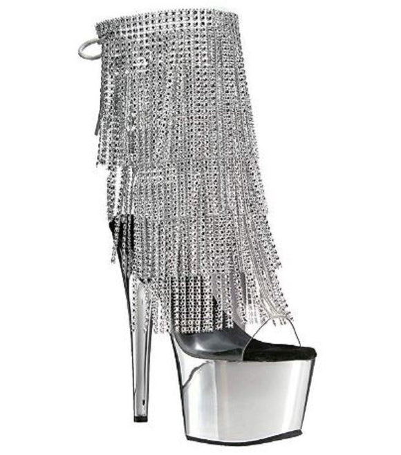 Pleaser Adore-1017RSF Exotic Dancer, Clubwear Ankle Hi Sexy Platform Boot. Silver/Chrome