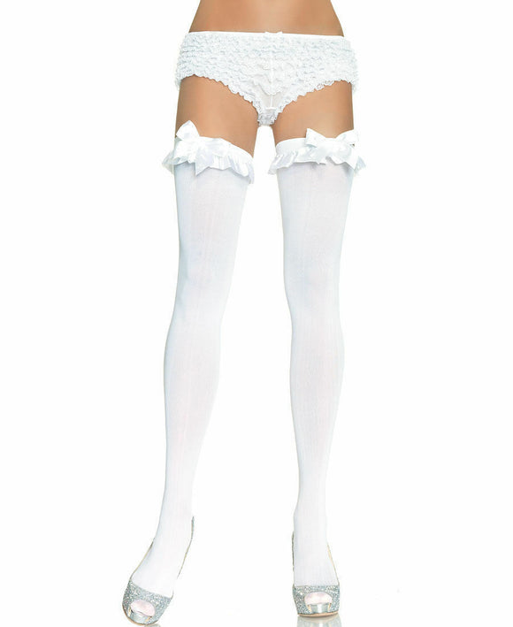 Opaque Thigh High Stocking With Satin Ruffle Trim And Bow. Leg Avenue 6010 White