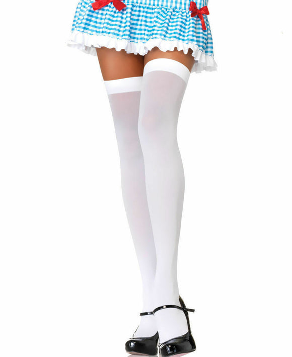 Women's. Opaque Nylon Thigh High Stockings. Leg Avenue 6672. White