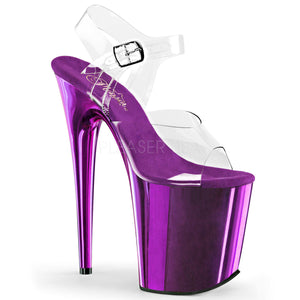 "Pleaser FLAMINGO-808 Exotic Dancing Shoes, 8"" Heel Ankle Strap Platform Sandal. Clr/Purple Chrome"