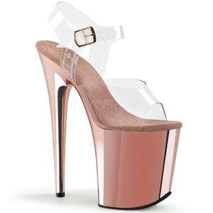"Pleaser FLAMINGO-808 Exotic Dancing Shoes, 8"" Heel Ankle Strap Platform Sandal. Clr/Rose Gold Chrome"