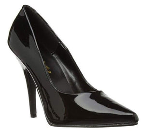 "Pleaser SEDUCE-420 Women's 5"" Heel Classic Pump, Slide In Shoes. Blk-Pat"