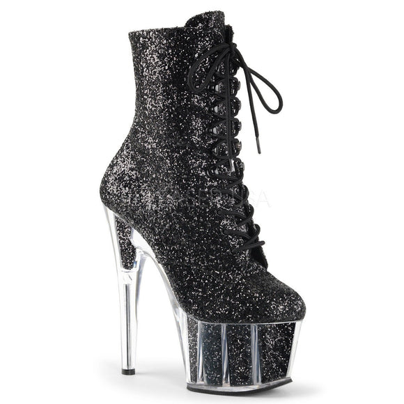 Pleaser ADORE-1020G Black Glitter Platform Ankle Boot