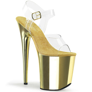 "Pleaser FLAMINGO-808 Exotic Dancing Shoes, 8"" Heel Ankle Strap Platform Sandal. Clr/Gold Chrome"