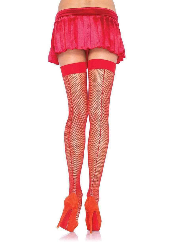 Exotic, Fishnet Thigh High Stockings With Backseam, Leg Avenue 9112, Red