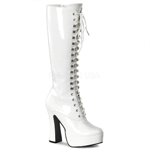 "Pleaser ELECTRA-2020 Women's Knee Boot Lace up 5"" Platform (Gogo) Boots.  White/Patent"