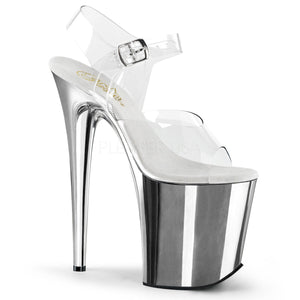 "Pleaser FLAMINGO-808 Exotic Dancing Shoes, 8"" Heel Ankle Strap Platform Sandal. Clr/Slv Chrome"