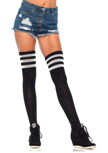 School Girl, 3 Stripes Athletic Ribbed Thigh High Stockings. Leg Avenue 6605. Black