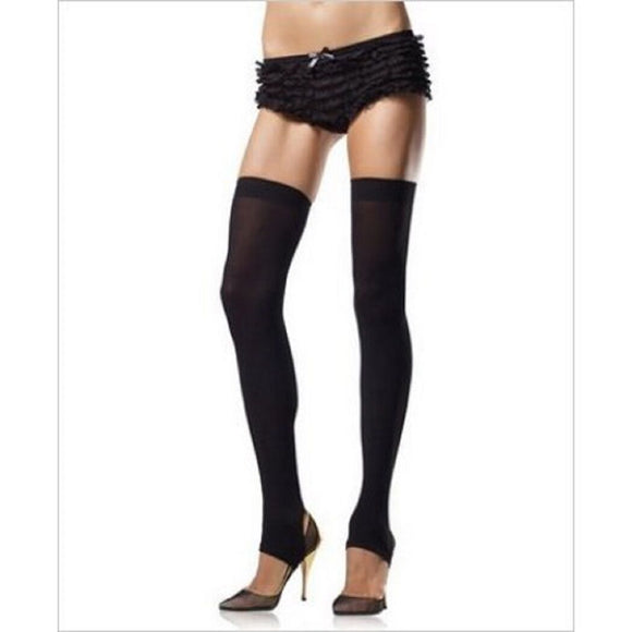 Women's Opaque Stirrup Thigh High Stockings. Leg Avenue 6310 Black