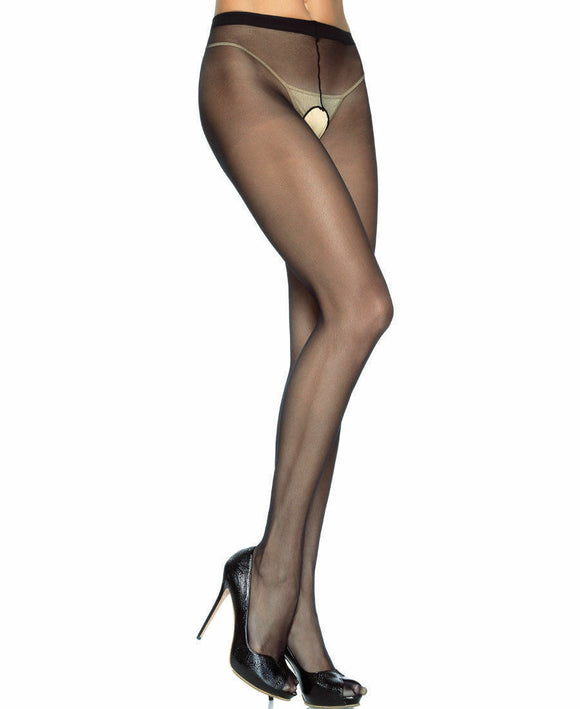 Women's Sheer Open Crotch Pantyhose, Stockings. Leg Avenue 1905 Black