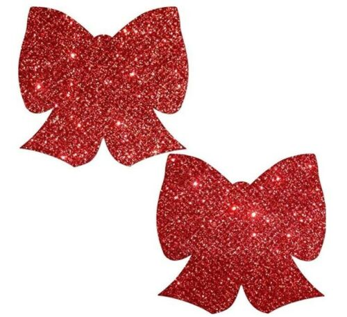 Bow: Glittering Red Bow Nipple Pasties by Pastease.