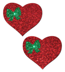 Red Glitter Heart with Green Bow Nipple Pasties by Pastease o/s