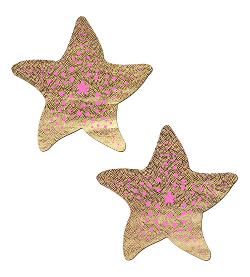 Starfish: Liquid Gold & Pink Print Sea Star Nipple Pasties by Pastease® o/s