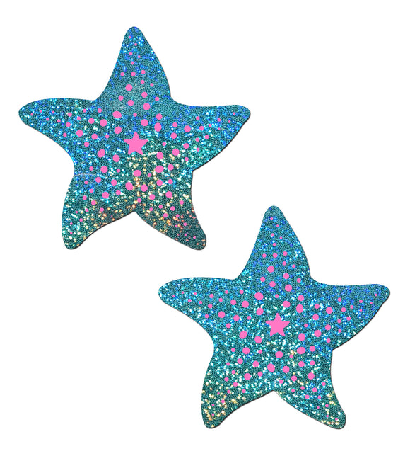 Starfish: Twinkling Seafoam Green & Pink Print Sea Star Nipple Pasties by Pastease® o/s