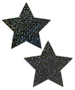 Star: Black Glitter Star Nipple Pasties by Pastease® o/s