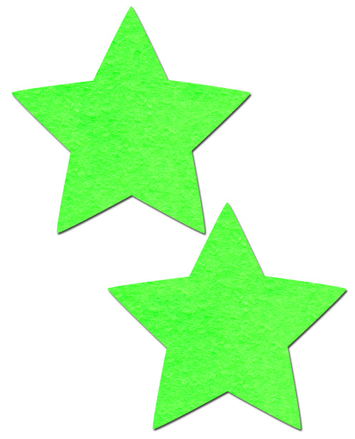 Star: Neon Green and Glow-in-the-Dark Star Nipple Pasties by Pastease® o/s