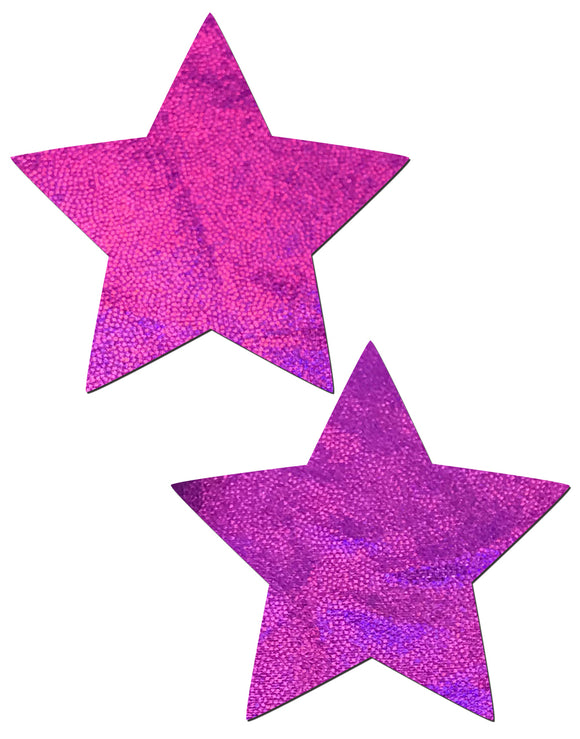 Star: Pink Holographic Star Nipple Pasties by Pastease® o/s