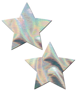 Star: Silver Holographic Star Nipple Pasties by Pastease® o/s