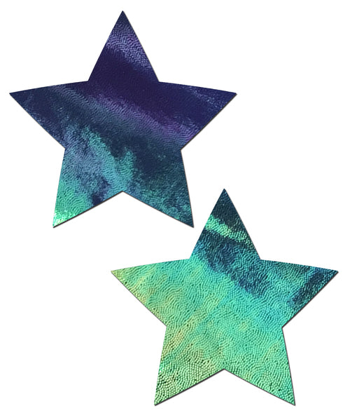 Star: Liquid Black Opal Iridescent Star Nipple Pasties by Pastease® o/s
