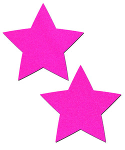 Neon Pink Day-Glow Lycra Star Nipple Pasties by Pastease® o/s