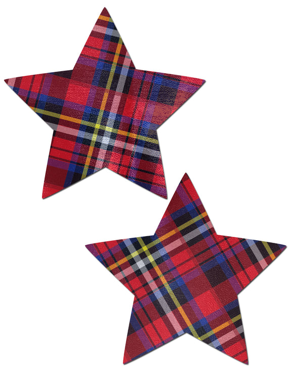 Star: Red Plaid Punk School Girl Star Nipple Pasties by Pastease® o/s