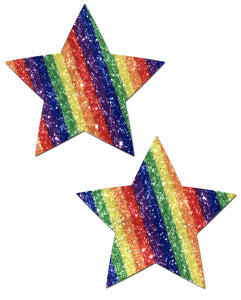 Star: Glittering Double Rainbow Star Nipple Pasties by Pastease® o/s