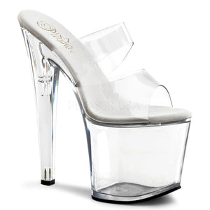 "Pleaser Taboo-702 Exotic Dancing Slip On 7-1/2"" High Heel Platform Sandal. Clear"