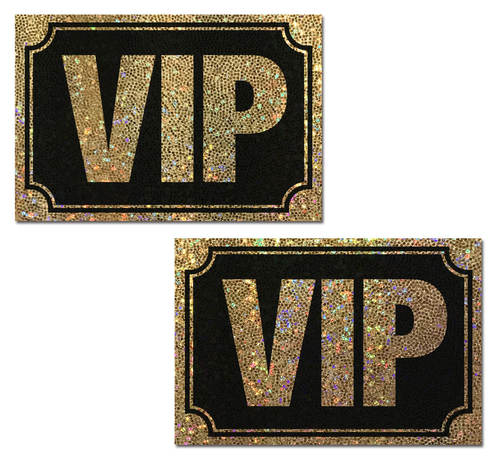 VIP: Gold Glitter VIP on Liquid Black Nipple Pasties by Pastease® o/s
