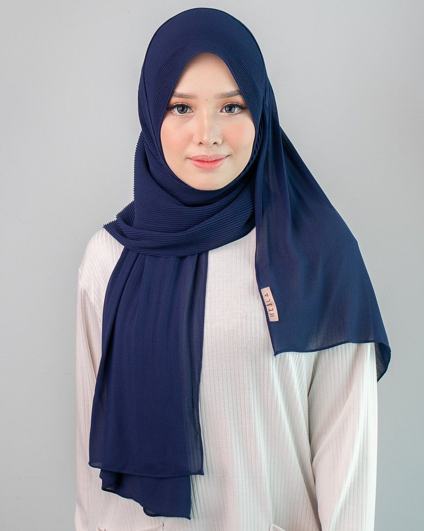Heela Hijab Accessories Madre Collection Adria Pleated Indigo Blue