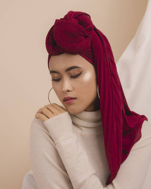 Heela Hijab Pleats Scarves Heela Hijab Burgundy Rose
