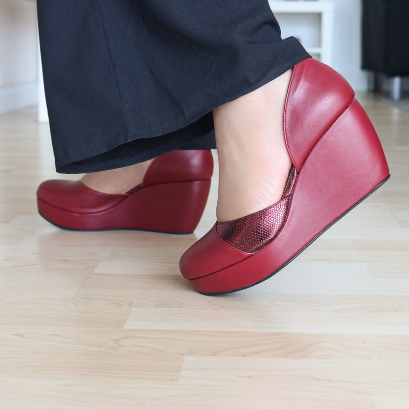 Helena Wedges Madre Collection 35 Maroon