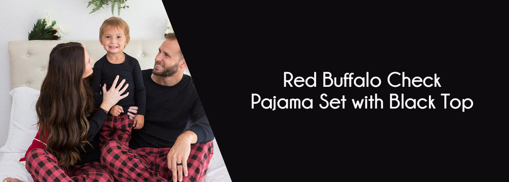 Red Buffalo Check Pajama Set with Black Top