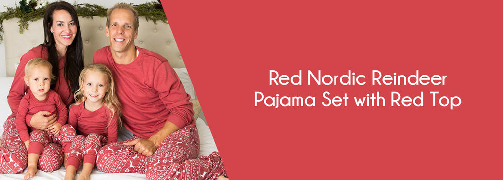 Red Nordic Reindeer Pajama Set with Red Top