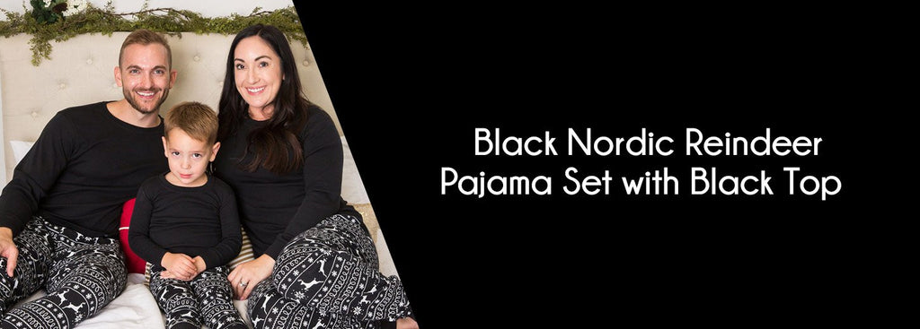 Black Nordic Reindeer Pajama Set with Black Top
