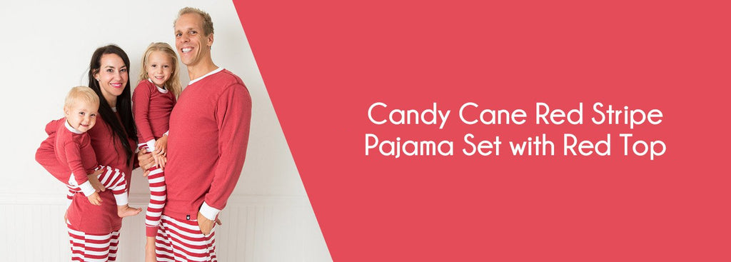 Candy Cane Red Stripe Pajama Set with Red Top