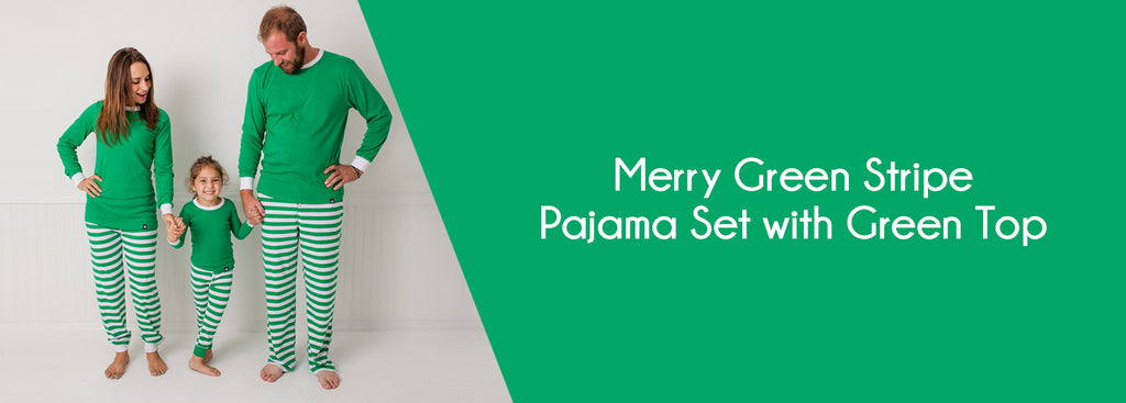 Merry Green Stripe Pajama Set with Green Top