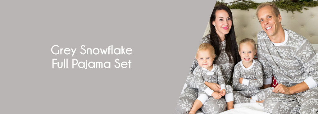 Gray Snowflake Full Pajama Set